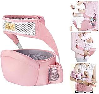Viedouce Portabebé Ergonómico Asiento de Cadera,con Protección del Cinturón la Seguridad,Algodón Puro Ligero,Taburete de Cintura de Posición Múltiple por Bebé Niños 6-36 Meses(Rosado)