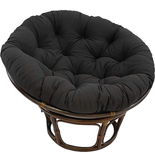 NCBH Papasan - Cojín redondo para silla Papasan, impermeable, con lazos, adecuado para muebles de interior y exterior, color negro, 160 x 160 cm