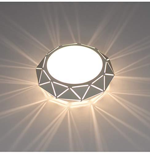 Osairous LED Plafoniera moderna, Plafoniera poligonale, Montaggio superficiale 5W 220V, Luce bianca per Soggiorno, Scala, Corridoio, Cucina, Diametro 22cm
