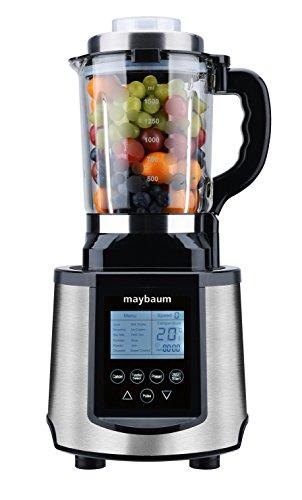Maybaum Professionele blender met kookfunctie, 30.000 omw/min, 1.200 W, 1,5 l glazen kist, LCD-display, automatische programma's voor soepen, sojamelk, smoothies