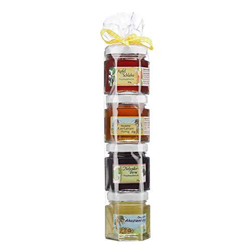 Marmeladen Honig Geschenkrolle - Konfitüre Honig Geschenk Set aus dem Allgäu - 2 x 50g Hausgemachter Fruchtaufstrich und 2 x 50g Honig aus Deutschland - Geschenk für Marmelade und Honig Liebhaber