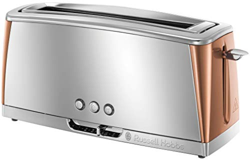 Russell Hobbs Luna Long Slot Toaster, Long Slice or Two Slice Stainless Steel Toaster with Copper Accents and Fast Toasting Technology, 24310