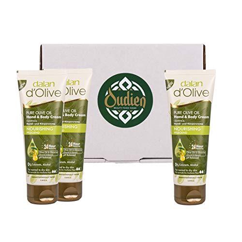 OUDIEN 3er Set dalan d'Olive Handcreme 75ml, Creme für Hände und Körper, natürliche Hautpflege mit Olivenöl