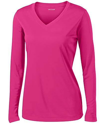 Joe's USA Ladies Long Sleeve Moisture Wicking Athletic Shirts, Raspberry X-Small