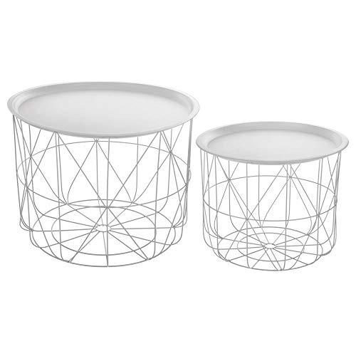 Atmosphera Lot de 2 Tables à café gigognes avec Plateaux Amovibles - Design et Modernes - Coloris Blanc
