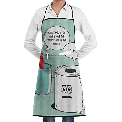 FAKAINU Delantales de cocina para mujeres y hombres, delantal impermeable, cepillo de dientes y adorno mágico de toalla de papel, delantal con 1 bolsillo para cocina casera, cocina de restaurante, ca