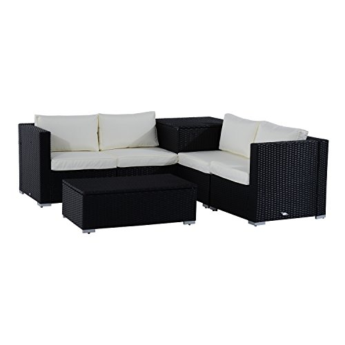 Outsunny 6PC Rattan Corner Sofa Set Wicker 4 Seater Garden Storage Coffee...