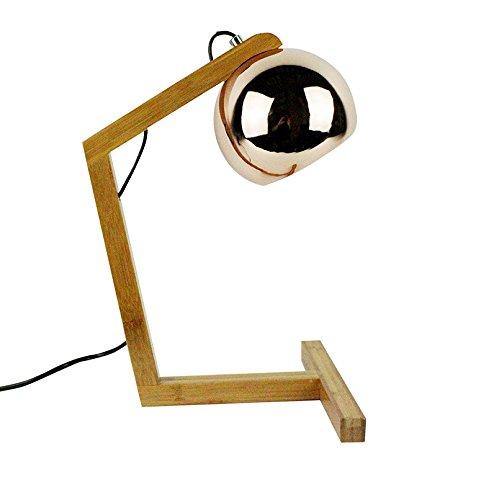 Meubletmoi bedlampje van hout – lampenkap stijl koper decoratieve stijl 70s – koper