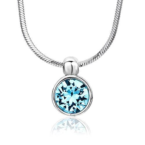 Miore Damen-Halskette mit Anhänger – Funkelnde Kette aus 925 Sterling Silber mit Swarovski Element – Halsschmuck 40 cm lang, Silber
