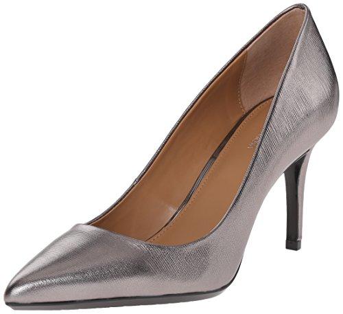 Calvin Klein Women's Gayle Pump, Anthracite Metallic Birch Leather - 5 B(M) US