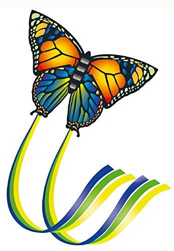 Paul Günther 1151 - Einleinerdrachen Butterfly, farbenprächtiger Drachen aus hochwertigem Polyester und Fiberglasstäben, mit Wickelgriff und Schnur, ca. 95 x 63 cm groß