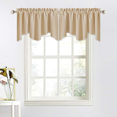 NICETOWN Thermal Room Darkening Valance - Short Curtain 52 inches by 18 inches Scalloped Valance for Living Room, Kids Room, Dorm, Nursery, Kitchen, Bow Window (Biscotti Beige, Single Panel)