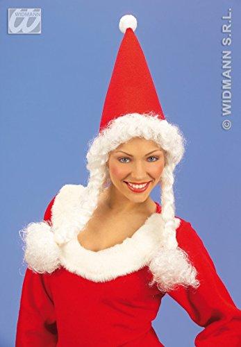 Widmann 1498 m – Bonnet de Mère Noël Miss Santa, avec tresses, adulte