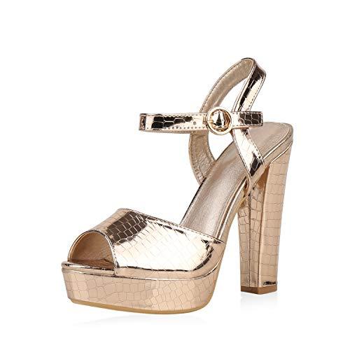 SCARPE VITA Damen Plateau Sandaletten Party High Heels Metallic Lack Schuhe Blockabsatz Abendschuhe Kroko Print Absatzschuhe 188005 Rose Gold 36
