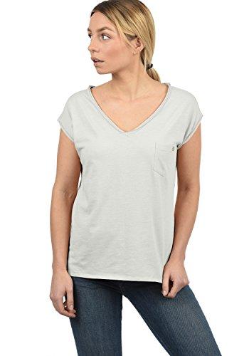 DESIRES Lynn Damen T-Shirt Kurzarm Shirt Mit V-Ausschnitt Und Brusttasche Aus 100% Baumwolle, Größe:L, Farbe:Light Grey (2325)