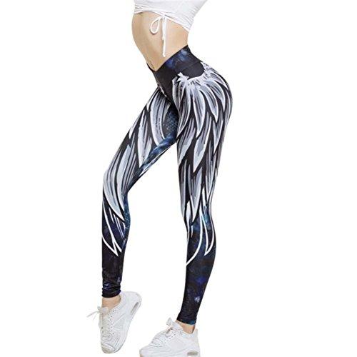 FORH Damen Leggings Hose Engelsflügel Printing Slimming Sportswear Yoga Skinny Sport Hosen Leggings Fitness Workout Frauen High Elastic Yoga Hosen Jogginhose (S, Blau)