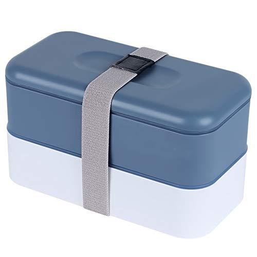 Eortzzpc Caja Bento Rectangular De 2 Niveles para Almuerzo con Cubiertos Reutilizables, Almacenamiento De Almuerzo para Microondas, Congelador, Lavavajillas, Cajas Bento para Niños, Adultos, Trabajo,