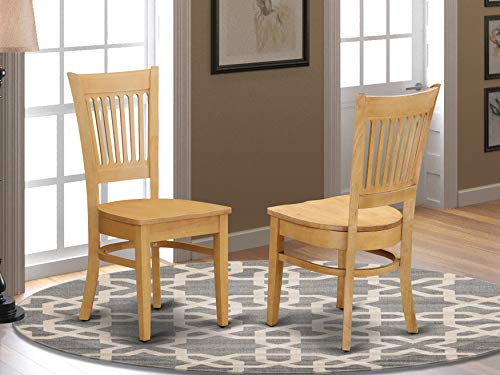 East West Furniture Vancouver dining room chairs - Wooden Seat and Oak Solid wood Structure dining chair set of 2