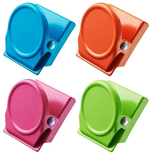 Uooker 4 magnetische Metallklammern, farbige Magnetklammern, perfekte Kühlschrankmagnete Küchenmagnete Whiteboard-Magnete für Heim, Schule, Klassenzimmer und Büro, 4 Farben