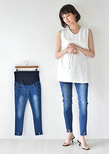 裾カットオフデザイン ほど良いUSED感で合わせやすいマタニティスキニーデニム パールズ Pearls 19A-YW-PT013 (blue, L)