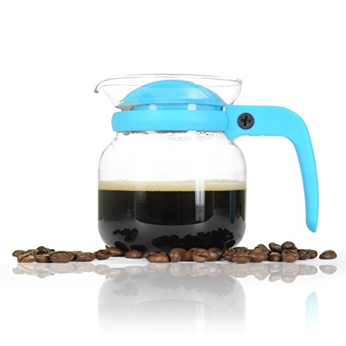 Kaffee-Kanne klein aus Glas 350ml (0,35L) Mikrowellengeeignet für Flüssigkeit mit drehbarem Kunststoff-Deckel und Loch zum Ausgießen, Tee-Kanne / Glas-Kanne, Farbe: Blau - Marke YOUZiNGS