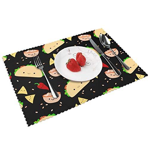 LQLDHJ Taco Tuesday Party Place Mat Washable Non-Slip Decorative Dining Tablecloth for Kitchen Dining Table Decoration, Set of 4