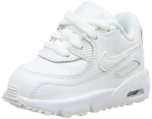 Nike Unisex Baby Air Max 90 Leather (TD) Sneaker, Weiß (White/White 100), 17 EU