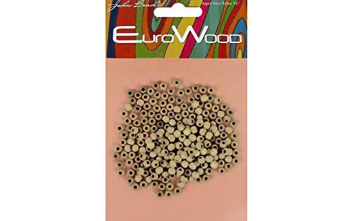 John Bead Perline in Legno Naturale EuroWood, Diametro Rotondo 4mm, 250 Pezzi, Naturali