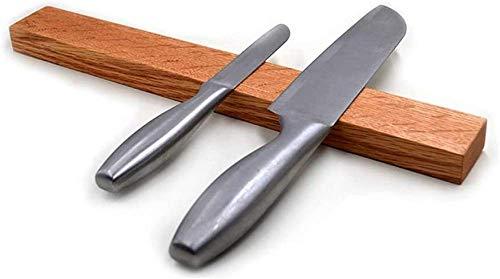 Portacuchillas magnético para pared | Fijación de bandas magnéticas de madera de roble con o sin tornillos | Ideal para cuchillos de cocina, utensilios, herramientas y organización general, Madera
