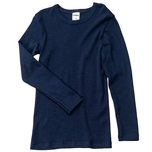 HERMKO 2830 Kit de 3 Camisetas Interiores Manga Larga para Chicos y Chicas, Farbe:Azul Marino, Größe Kinder:14 años