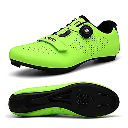 Calzado de Ciclismo para Mujer, Zapatillas de Ciclismo Hombre Road Spin Shoestring con SPD y Cala Compatible con Pedal Delta Lock,H-43EU