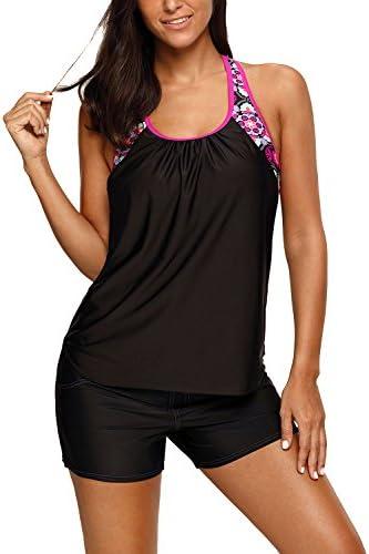 Women s Blouson Floral T Back Push Up Tankini Top Halter Padded Slimming Swimsuit Sporty Swimwear product image