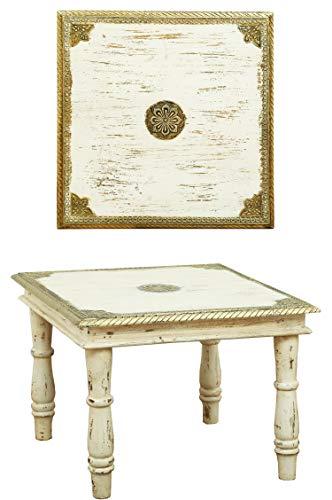 Orientalischer Couchtisch Beistelltisch Anjay 55cm Groß | Vintage kleiner Tisch aus Holz massiv mit Messing verziert für Ihre Wohnzimmer | Niedriger Marokkanischer Sofatisch Wohnzimmertisch Weiss