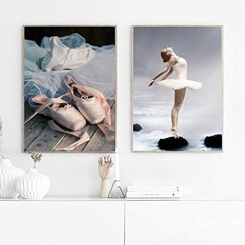 Cartel de impresión de Bailarina de Ballet de Belleza Elegante Moderno Estilo nórdico Zapatos de Retrato de niña Cuadros de Arte de Pared decoración del hogar Lienzo pintura-50x70cmx2 sin Marco