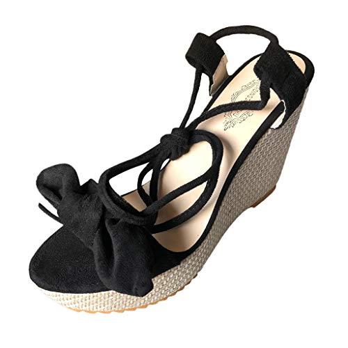 TIFIY Sandalen Neue Großhandel Wedges Schuhe High Heels Casual Plattform Mode Sweet Bow Summer Innen Retro Stilvoll Grundlegend Sandalen Schwarz 39