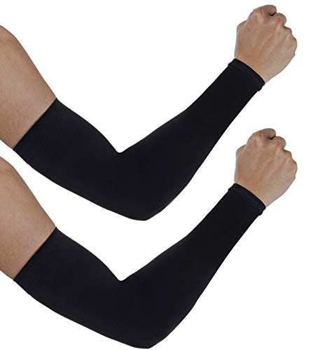 aegend Arm-Ärmel, [2 Paar] Arm-Wärmer UV-Schutz für Männer Frauen Jugend Armstütze für Radfahren Golf Baseball Basketball Tattoo Arm Kompression Ärmel-Schwarz Weiß Grau, One Size Fit Most