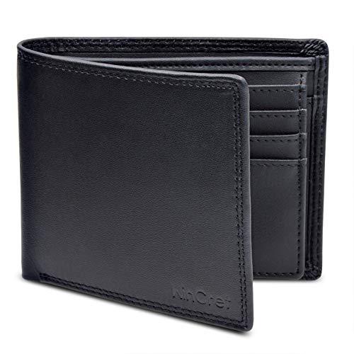 WinCret Portafoglio Uomo con 16 scomparti per carte e Portamonete - Portafoglio Uomo Pelle Bi-fold Portafogli con Blocco RFID/Confezione Regalo - Nero/Marrone