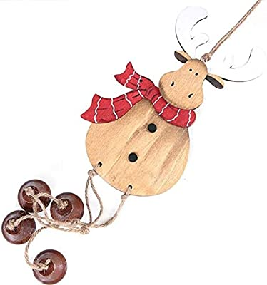 Generic 2020 Year Gift Decoration Wooden Snowman Tree Snowman Elk Doll Christmas Hanging Ornaments Creative Bell Pendant: R, United States, L