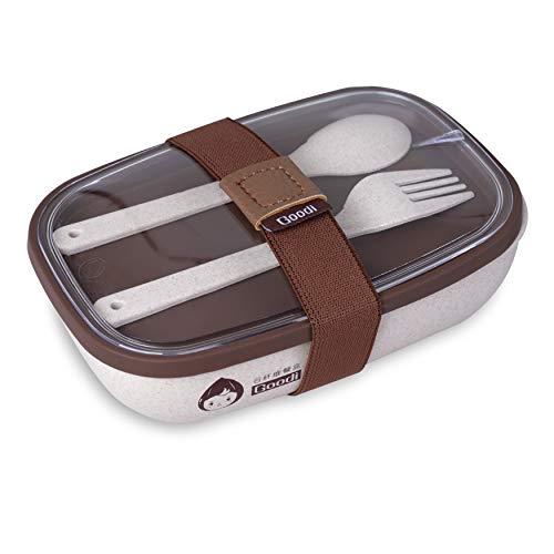 Lunch Box Eco-BIO Realizzato con Gluma del Riso  Lunch Box con 2 Scomparti Atossico Inodore BPA Free  Porta Pranzo Packed Lunch Set Posate Incluso  Ok per Microonde/Lavastoviglie (Marrone)