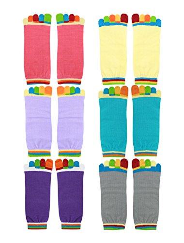 sourcingmap 6 Paar Damen rutschfest Handgriff Kontrast Farbe Toe Socken Gr.7-9