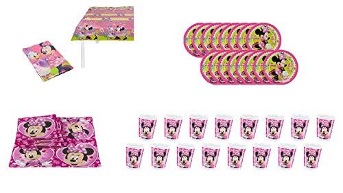 0900, Pink Minnie Mouse wegwerppakket; 16 plastic bekers 200 ml, 16 kartonnen borden 19,5 cm, 20 papieren servetten, 1 plastic mat 120x180 cm