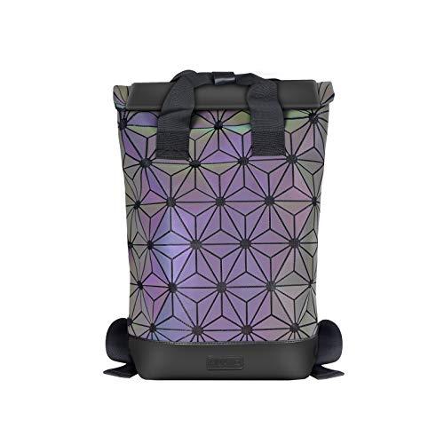 Geometrische Lingge Rucksack Erweiterbar Große Kapazität Leuchtende Reflektierende Reise Daypack Fashion School Rucksack-Luminous