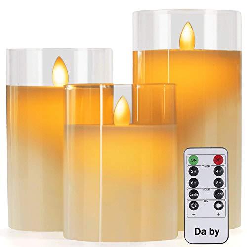 """Da by LED Kerzen mit Glaseffekt 4""""5"""" 6""""Set mit 3 tropffreien Echtwachssäulen Mit realistischen tanzenden LED-Flammen und 10-Tasten-Fernbedienung mit 24-Stunden-Timerfunktion"""