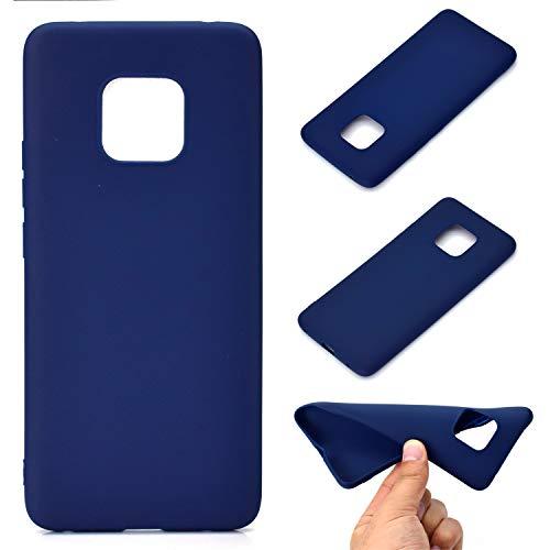 LeviDo Coque Compatible pour Huawei Mate 20 Pro Étui Silicone Souple Bumper Antichoc TPU Gel Cover Bonbons Couleurs Design Ultra Fine Mince Caoutchouc Etui, Bleu Foncé