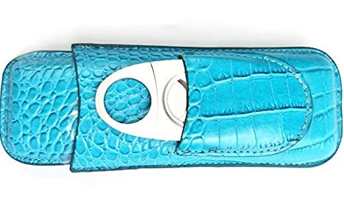 NS Wonderland Fashion Sky Blue Max 42% OFF Finally resale start Leather 2 Finger Cigar Trav Case