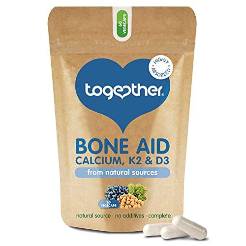 Bone Aid – Together Health – Plant-Based Calcium & Vitamins K2 & D3 – Vegan Friendly – Made in The UK – 60 Vegecaps