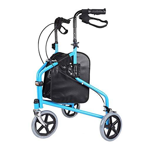 LMEIL Andador con Ruedas de 3 Ruedas con empuñaduras ergonómicas, Andador con Ruedas Ajustable en Altura Plegable, Carro de Compras para Ancianos con Andador con Freno