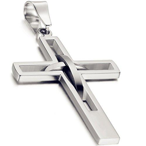 Flongo Herren-Kette Männer Anhänger, Edelstahl Anhänger Halskette Silber Kreuz Hohle Openwork Jahrgang Poliert Herren,mit 54cm Kette