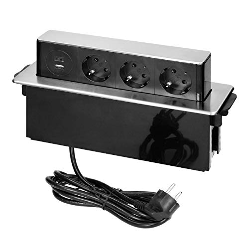 ORNO GM-9014(GS)/B-G Enchufe para mueble retráctil 3 vías con 2 x USB 3680W Listo para la Conexión con cable Schuko de 2m de longitud, Color: negro y plateado