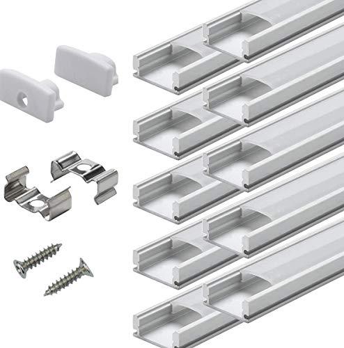 LED Schiene Profil Aluminum - 20 × 1M StarlandLed 20-Pack LED-Aluminium Profil U-Form mit Abdeckung, Endkappen und Montageclips für LED-Streifen-Lichter AP01U